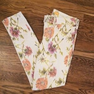 Pilcro and the Letterpress flowered skinny jeans